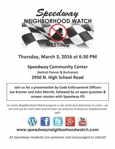 Speedway Neighborhood Watch Flyer 2
